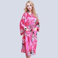 vestidos de casamento japoneses venda por atacado-Mulheres De Cetim De Casamento Longo Robe Floral Pavão Impresso Roupão De Banho Heigh Qualidade Robe Tamanho Grande Vestido Vestido De Kimono Japonês Estilo