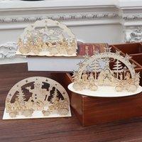 exibir casas venda por atacado-3 estilos de madeira do Natal DIY decoração Assembly 20 centímetros de Santa Casa cervos Carrinho Snowman criativa caseiro Mostrar L369