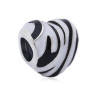 zebra cazibesi toptan satış-Otantik 100% 925 Ayar Gümüş Boncuk Charm Zebra Çizgiler Monokrom Emaye Vahşi Çizgili Kalp Boncuk Fit Pandora Bilezik Diy Takı