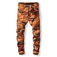 pantalones de camuflaje hombres delgados al por mayor-Pantalones de camuflaje para hombre fresco Pantalones vaqueros de mezclilla Hombres Motocycle Camo Slim Fit Biker Jeans Tamaño 29-38