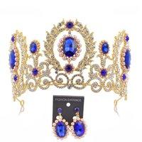 vintage tören tiaraları toptan satış-Tiara Taç Setleri Küpe Pageant Prenses Diadem Tiaras ve Taçlar Barok Vintage Grand Taç Gelin Düğün Aksesuarları