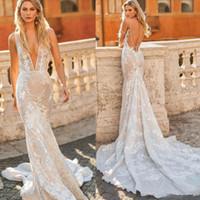 cf23ce34c6e4 2020 Berta Iovy Plus Size Mermaid Wedding Dresses Sexy V Neck Applique  Sweep Train Boho Garden Country Style Bridal Gowns Cheap