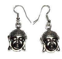gümüş kulak cuff charm toptan satış-Antik Gümüş Kaplama Buda Baş Bırak Küpe Kadınlar Charm Dangle Küpe Eardrop Kulak Manşetleri Aksesuarları Etnik Moda Takı Hediye