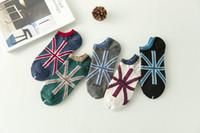 fabricantes de calcetines al por mayor-Calcetines del diseñador de los calcetines del diseñador de la venta al por mayor de los hombres del algodón de los hombres de la bandera británica del verano del barco de los hombres