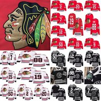camisetas negras de blackhawks al por mayor-Hombres Mujeres Niños Chicago Blackhawks hockey 88 Patrick Kane 19 Jonathan Toews 2 Keith 20 Saad 12 Alex DeBrincat Red White Jerseys S-3XL