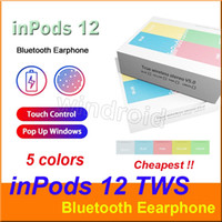 Wholesale pop phone green online – Colorful inpods inpods12 i12 Macaron color Bluetooth wireless TWS earphone pop up window touch earbuds Earphone for All Smart Phone