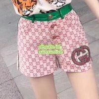pantalones cortos chicas verde al por mayor-Verano Moda Mujer Diseñador de Lujo Lienzo Mini Culotte Con Rhinestone Shorts Chicas Casual Rojo Con Verde Runway Mujer Pantalón corto