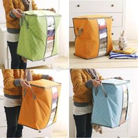 caixas de sacos de armazenamento em casa venda por atacado-Armazenamento Non Woven Bolsas de Brinquedos Roupa Blanket Pillow Quilt Folding cama Box armazenamento caso Início Closet armazenamento Bag for Kids família M934