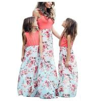 maxi elbise plaj kızları toptan satış-Butik Anne ve kızı elbise Tank Maxi elbise Çiçek Kız elbise Anne ve kızı elbise Ince Pamuklu Plaj Tatil Sıcak satış