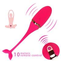 ingrosso vibrante massaggiatore per il sesso-Vibratori a vibrazione per uovo Telecomando Massaggiatore sessuale Uovo d'amore per donne Esercizio Massaggio vaginale Palla di Kegel Punto G Ricarica USB