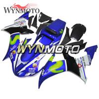 piezas de carenado moto yamaha al por mayor-Kit de carenado de piezas de motocicleta para Yamaha YZF1000 R1 2002 2003 Complete Bike Body Frame R1 02 03 Aftermarket Motocicleta ABS Movistar azul casco