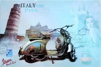 Wholesale television for cars resale online - italy car mancave plinup girl cm blond beauty motorbicycle Tin Sign Coffee Shop Bar Restaurant Wall Art decoration Bar Metal Paintings