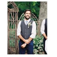 damat için gri düğün takımları toptan satış-Gri Yün Tüvit Damat Yelek Resmi Damat Giyim Takım Elbise Yelek erkek İngiliz Tarzı Düğün Smokin Yelek Artı Boyutu