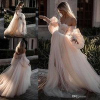 Wholesale off white simple dress resale online - Fairytale Tulle Wedding Dresses Lantern Long Sleeve Countryside Off the Shoulder Sweetheart Neck Lace Bridal Gowns Wedding Vestidos