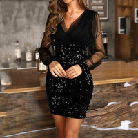 Wholesale sequined dresses resale online - Women V Neck Mesh Sleeve Sequined Dresses Female Patchwork Casual Elegant Party Dress Girls Long Sleeve Clothing vestido mujer