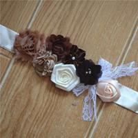ingrosso fotografie del fiore della sposa-Abito in cotone impreziosito da moda europea e americana con cuciture in pizzo, sposa, donne incinte e fiori per bambini