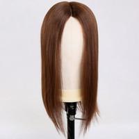 medias pelucas brasileñas al por mayor-Premier Half Wigs Pelucas de encaje mono para mujeres Mediano color marrón 150% Densidad Pelos humanos brasileños Pelucas