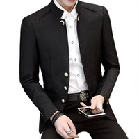 Wholesale formal clothes suit resale online - New Luxury Stand Collar Suits Casual Party Business Blazer Formal Marry Blazer Autumn Winter Clothes Terno Masculino Jacket