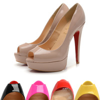 Wholesale nude high heel platform resale online - Nude CL louboutin Red Bottom Pumps Woman Shoes Ladies Modis Classic Platform Stilettos Super High Heel Brand Autumn Plus