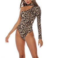 свисающая шея оптовых-Fashsiualy 2019 Fashion Women Sexy Hanging Neck Long Sleeve Leopard Bodysuit Jumpsuit Rompers Womens JumpsuitWhosale