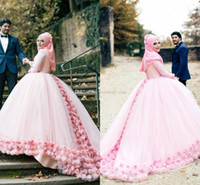 Wholesale muslim wedding dress collar for sale - Group buy Pink Ball Gown Muslim Wedding Dresses High Neck Long Sleeves Tulle Flowers Lace Back Bandage Bridal Gowns