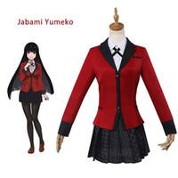 ingrosso uniforme ragazze giapponesi-Anime Kakegurui Yumeko Jabami Halloween Costumi Cosplay Giapponese Ragazze Uniforme scolastica Set completo Giacca + Camicia + Gonna + Collant + Tie Outfit