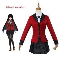 roupas japonesas venda por atacado-Anime Kakegurui Yumeko Jabami Trajes Cosplay Do Dia Das Bruxas Meninas Japonesas Uniforme Escolar Conjunto Completo Jaqueta + Camisa + Saia + Meia-calça + Gravata Outfits