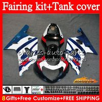 Body+Tank For SUZUKI GSXR 600 750 CC GSX R750 GSXR-600 K1 65NO.85 GSX-R750 GSXR600 GSXR750 blue white 01 02 03 2001 2002 2003 Fairing kit