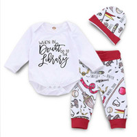 Wholesale white cap style boy for sale - Group buy Baby Boys Cartoon Suits Girls Printed Long Sleeve Tops Sets Kids Leisure Clothes Boys Letter Printed Pants Caps Three Piece Suit