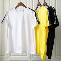 soğutma giyim toptan satış-19ss Bahar Yaz Lüks Avrupa Paris Patchwork Band Saten Kurdela T-shirt Moda Erkek Kadın Giyim Serin Kaykay T Gömlek Casual Tee