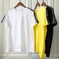 Wholesale patchwork printed tees online – design 19ss Spring Summer Luxury Europe Paris Patchwork Band Satin Ribbons T shirt Fashion Men Women Clothing Cool Skateboard T Shirt Casual Tee