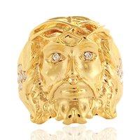 ca88e2126969 24 K oro Hip Hop Bling Bling cruz de cristal Jesús pieza anillos alta  calidad moda Charm Punk accesorio joyería