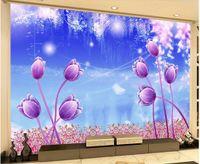 Wholesale tulip mould resale online - 3d wallpaper custom photo mural Romantic fantasy fairyland tulip flower home decor living room d wall murals wallpaper for walls d