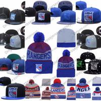 new york beanie hüte großhandel-New York Rangers-Eishockey-Strickmützen Stickerei verstellbarer Hut bestickte Snapback-Kappen Blau Weiß Grau Schwarz Genähte Hüte Eine Größe