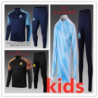 pantalon de sport achat en gros de-2019 2020 Olympique de Marseille Survêtement de football veste de jogging de football Manteau Pantalon Sport Formation 19 20 enfant PAYET OM Football Survêtement
