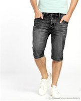 jeans cortos slim al por mayor-Mens derecho diseñador Jean Pantalones cortos mediados de cintura regular la cremallera para hombre Slim Jeans Hombre Ropa