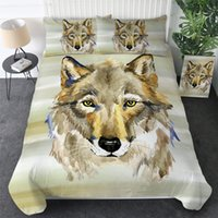 Wholesale pink striped bedding sets for sale - Group buy Tribal Wolf Bedding Set Queen Watercolor Striped Duvet Cover Set Animal Home Textiles Black White Bedclothes