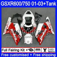 tanques suzuki al por mayor-+ Depósito para SUZUKI GSXR 600 750 rojo blanco brillante GSXR-750 GSXR600 2001 2002 2003 294HM.65 GSX R750 R600 K1 GSX-R600 GSXR750 01 02 03 Carenado