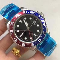 mavi dalış saati otomatik toptan satış-Lüks Yeni Gents GMT II Otomatik Saatler Paslanmaz Çelik Dalış Mavi Kırmızı Seramik Daire Usta 44mm Mens Watch Relogio Casual Erkek Saatler