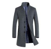 abrigo de invierno casual de negocios para hombre al por mayor-Hombres de invierno Trench Coats Solid solapa de cuello largo de Coats botón Estilo Moda Ropa hoome