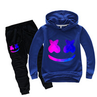 Wholesale smile kids clothing for sale - Group buy Kids Tracksuit Boys Casual Clothes Set Marshmallow Costume Dj Smile Sport Suit For Girl Teen Long Sleeve Sweatshirt Hoodies Pant J190710