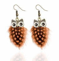 Wholesale fashion price points for sale - Group buy Promotional price hot individuality creativity owl feather wave point earring lovely animal earring multi color fashion