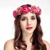 ingrosso fascia di ghirlanda artificiale del fiore-Sposa matrimonio rosa fiore artificiale ghirlanda corona fascia e capelli matrimonio corona di capelli ornamenti per capelli spiaggia avvolgere copricapo di fiori