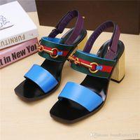 elegante sommersandalen großhandel-Luxus-Designer Classic Sandals Lady Summer 2019 Designer-Luxus-Designer-Marke Sandalen Größe elegante, klobige Fersen Damen