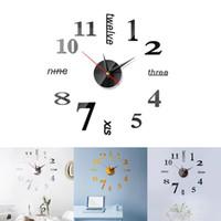 grands autocollants muraux auto-adhésifs achat en gros de-Montre Horloge Murale Design Moderne 3D DIY Numérique Décoratif Miroir Autocollant Cuisine Moderne Vintage Grande Horloge Murale Autocollants