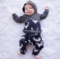 Wholesale newborn baby boys clothing online - Baby Boys Autumn Winter Clothes Sets Infant Long Sleeve Thicken Hooded Sweatshirt Pants Cute Suit Newborn Clothing