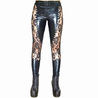 23e1fd4d27f83e High Quality Women Club Stage Performance Sexy Black Lace Up Faux Leather  Leggings Wet look Gothic Punk Rock Pants