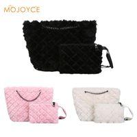 2pcs set Faux Fur Clutch Totes Women Handbags Flap Purse Winter Portable Fur  Bag Fashion Female Shopping Bag Chain Shoulder 510e5591d66c4