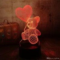 urso de toque da lâmpada venda por atacado-Holiday Gift Decor Luz Reter Cute Teddy Bear New Baby Love Coração Balão táctil de 7 Alterar cor da lâmpada de mesa 3D LED Night for Kids