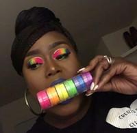 ingrosso lucido set di ombretti-Neon Ombretto Polvere 7 misti luminosi True Colors Eye Shadow pigmenti fluorescenti Matte Mica Dye colorante Neon Insieme di trucco